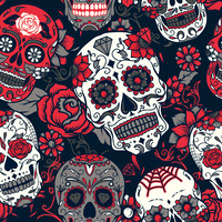 Print, Rockabilly Red Roses and Skulls , Piece 92cm long