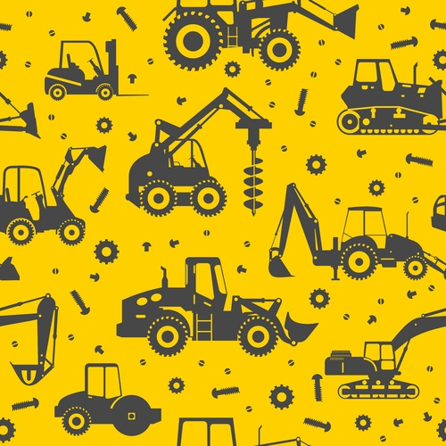 Print, Grey and Yellow Construction Machinery